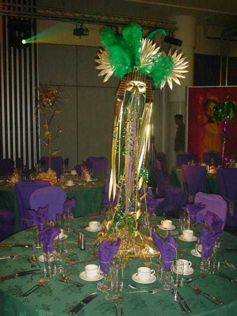 mardi gras  masked ball table centrepieces