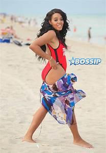 Swimsuit Clad Angela Simmons Enjoys Miami Beach With A ...