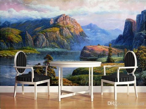realistic landscape oil paintings valley spring large