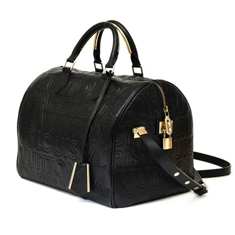 louis vuitton limited edition black embossed leather speedy cube bag  stdibs