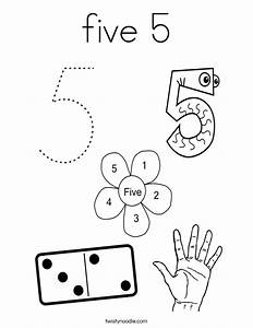 five 5 Coloring Page - Twisty Noodle
