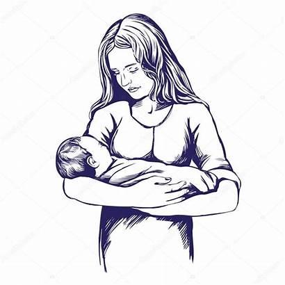 Holding Mother Illustration Mothers Sketch Hand Vector