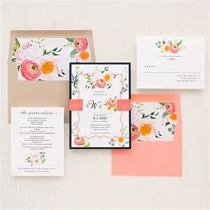 elegant coral wedding invitations beacon lane With blank coral wedding invitations