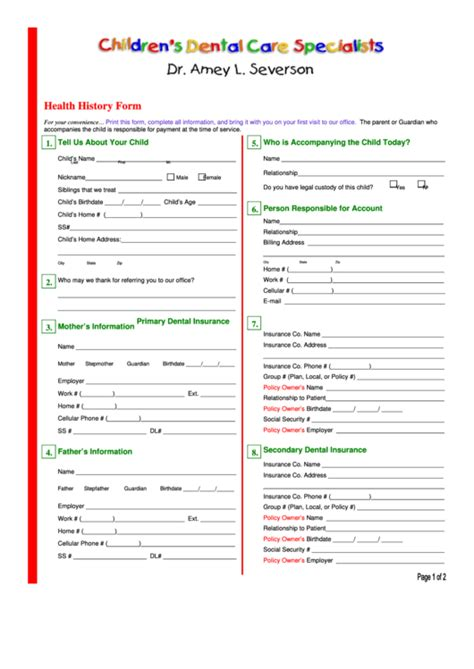 childs dental health history form printable