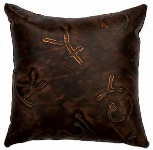 Brands Embossed Leather Throw Pillow 16 x 16