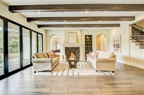 Traditional Living Room With Exposed Beam & Hardwood 3 Bedroom Cottage Floor Plans Make A Plan Two Story Home Class C Motorhomes Lake House Simple Design Turnberry Place Best