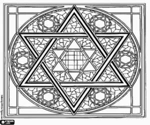 star of david coloring page - judaism coloring pages printable games