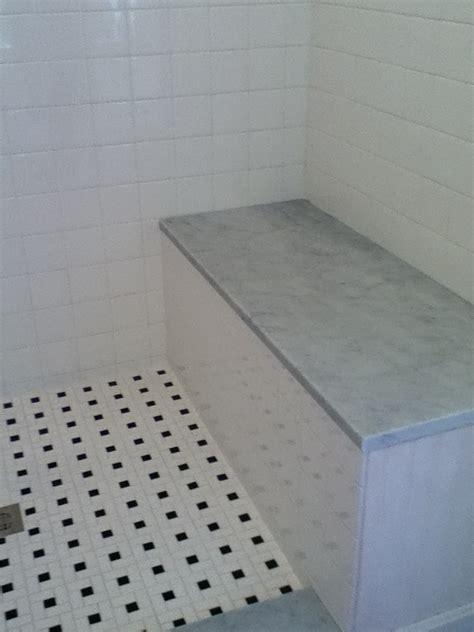 Custom Bathroom Remodeling: Carrara Marble Stone Seat