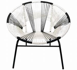 Fauteuil de jardin tulum fil noir et blanc 95eur salon d39ete for Fauteuil fil noir