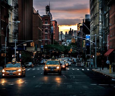 New York Street Taxi Dawn Hd Wallpaper