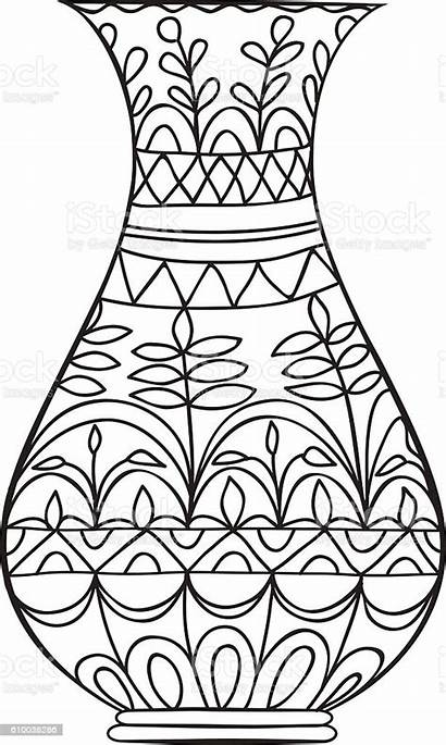 Vase Coloring Flowers Adult Doodle Glass Material