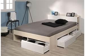 Lit 2 Personnes But : lit 2 personnes avec rangement pas cher pour chambre adulte ~ Melissatoandfro.com Idées de Décoration
