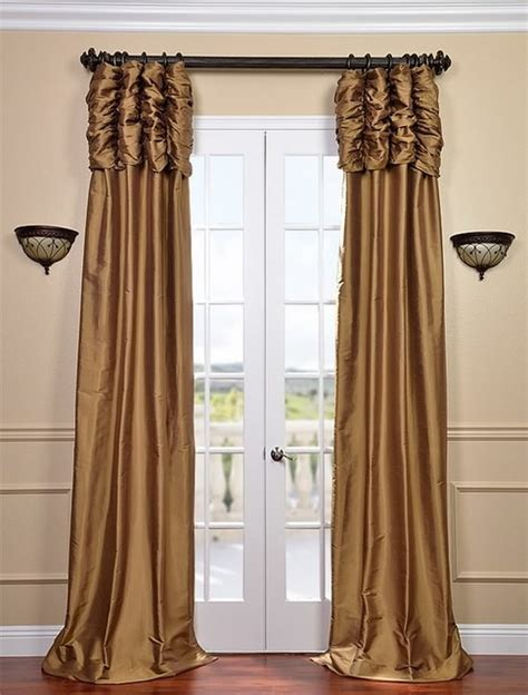 ruched brown gold thai silk curtain traditional
