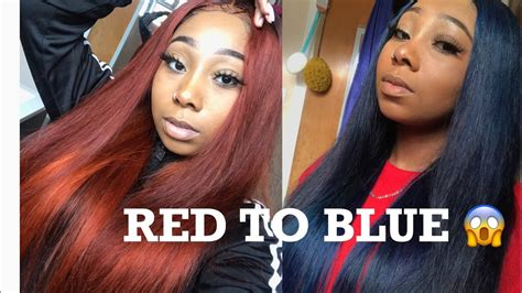 How To Dye Red Hair Blue!