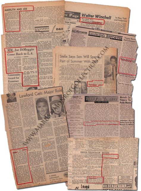 marilyn monroes personal newspaper clippings