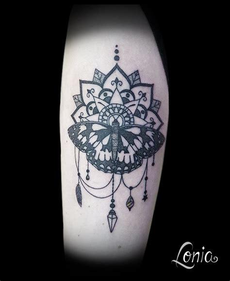 tatouage lonia tattoo mandala papillon demi deuil
