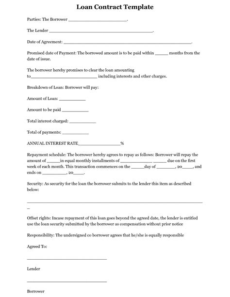 personal loan template free printable loan template form generic