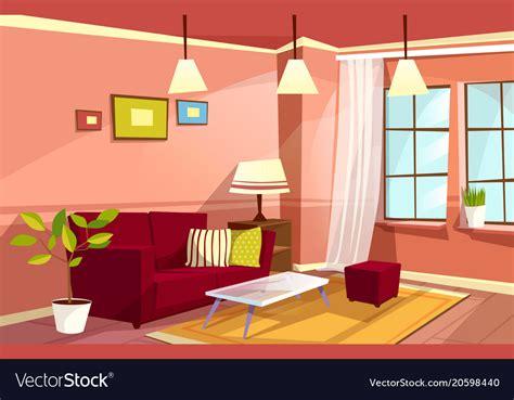 Cartoon Living Room Apartment Interior Royalty Free Vector