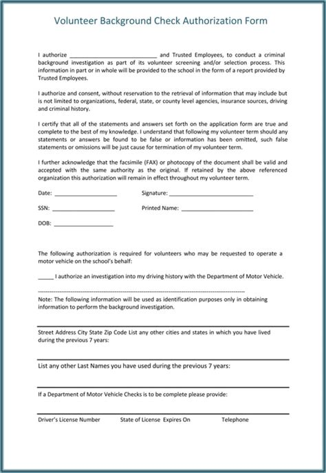 background check authorization form template templates