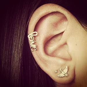 cursive love cartilage earring | Tattoos & Piercings I ...