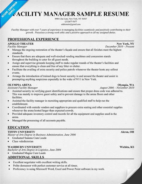 Maintenance Manager Resumes by 12 Facility Manager Resume Sle Riez Sle Resumes
