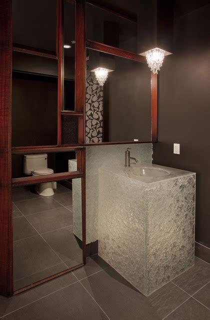 glass powder room vanity  escala penthouse