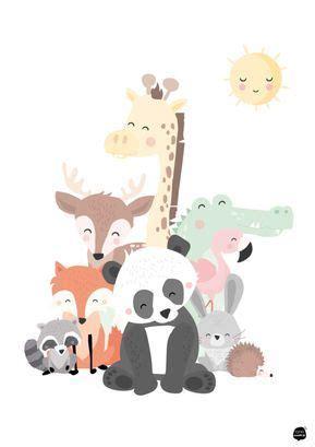 animals family kids room babykamer poster