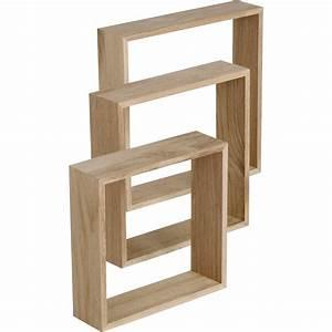 Planche De Bois Brut Pas Cher : etag re 3 cubes ch ne l 30 x p 30 l 26 5 x p 26 5 l 23 ~ Dailycaller-alerts.com Idées de Décoration