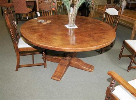 French Country Oak Round Refectory Table Kitchen  Ebay