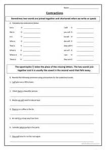 esl contractions worksheets