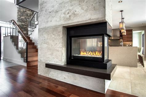 3 sided gas fireplace Family Room Contemporary with 3