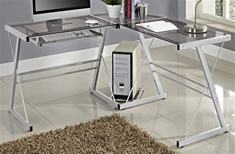 we furniture elite soreno glass corner computer desk black we furniture 3 piece soreno silver with smoke glass corner
