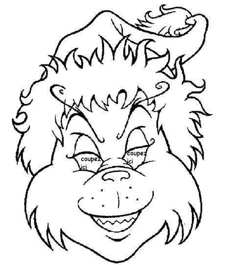 masque grinch decoupage  imprimer