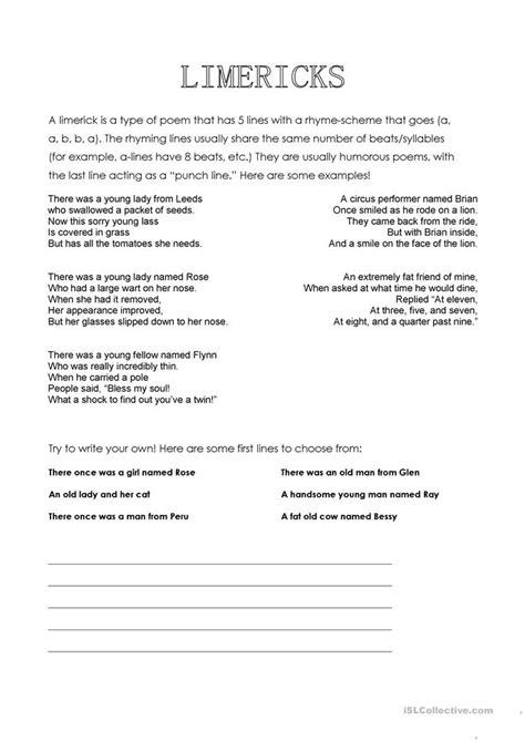 limericks worksheet  esl printable worksheets