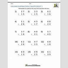 2 Digit Subtraction Worksheets 2nd Grade Column Dig  Criabooks  Criabooks School