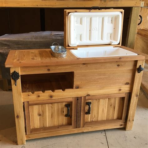 Rustic Wooden Cooler Cabinet With Wine Rack Chill Tub
