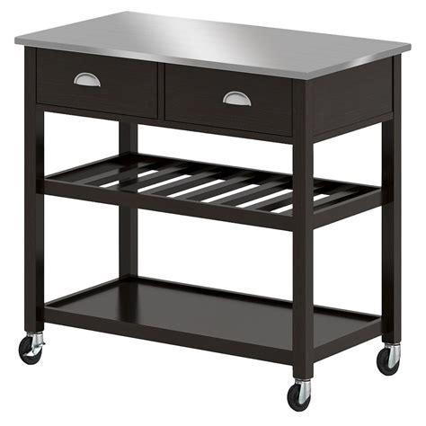 target kitchen island black upc 764053494307 threshold stainless steel top open 6009