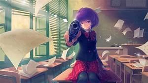 Anime, 1920x1080, Anime, Girls, Schoolgirls, School, Uniform, Weapon, Pistol, Skirt, Gun, Short, Hair