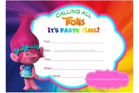 trolls invitation templates free trolls party