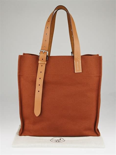 hermes brown canvas  natural vache hunter leather etriviere shopping tote bag yoogis closet