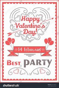 Happy Valentines Day Poster Romantic Vector Stock Vector ...