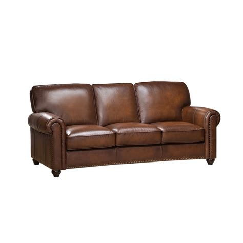 Discontinued Uttermost Ls by Royale Olive Brown Genuine Leather Sofa With Nailhead Trim