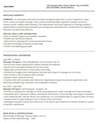 Self Employed On Resume by Therapist Resume Sles Exles Templates 6