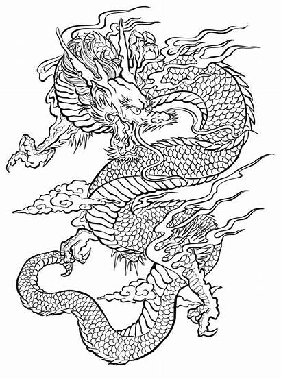 Dragon Coloring Adult Tattoo Japanese Tattoos Craftfoxes