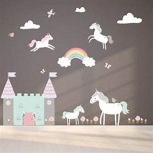 unicorn fabric wall stickers by littleprints With unicorn wall decal