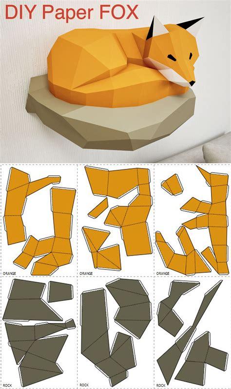 papercraft fox  rock paper model  paper craft paper