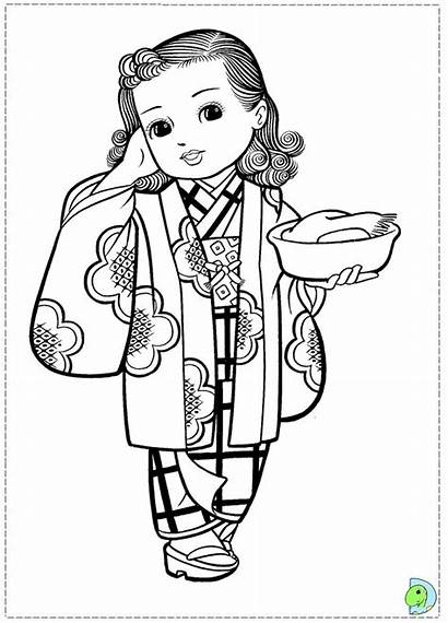 Coloring Japanese Desenhos Dinokids Meninas Japonesas Colorir
