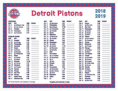 printable   detroit pistons schedule