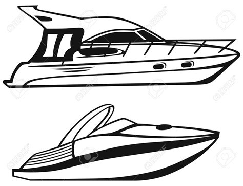 Motor Boat Outline by Yacht Free Clipart 63