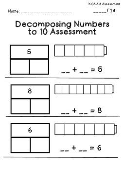decomposing numbers kindergarten assessment by stephanie posada tpt